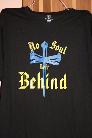 #5081 No Soul Left Behind T Shirt Black T Shirt with the cross in blue in the middle, writing bold letters in color yellow